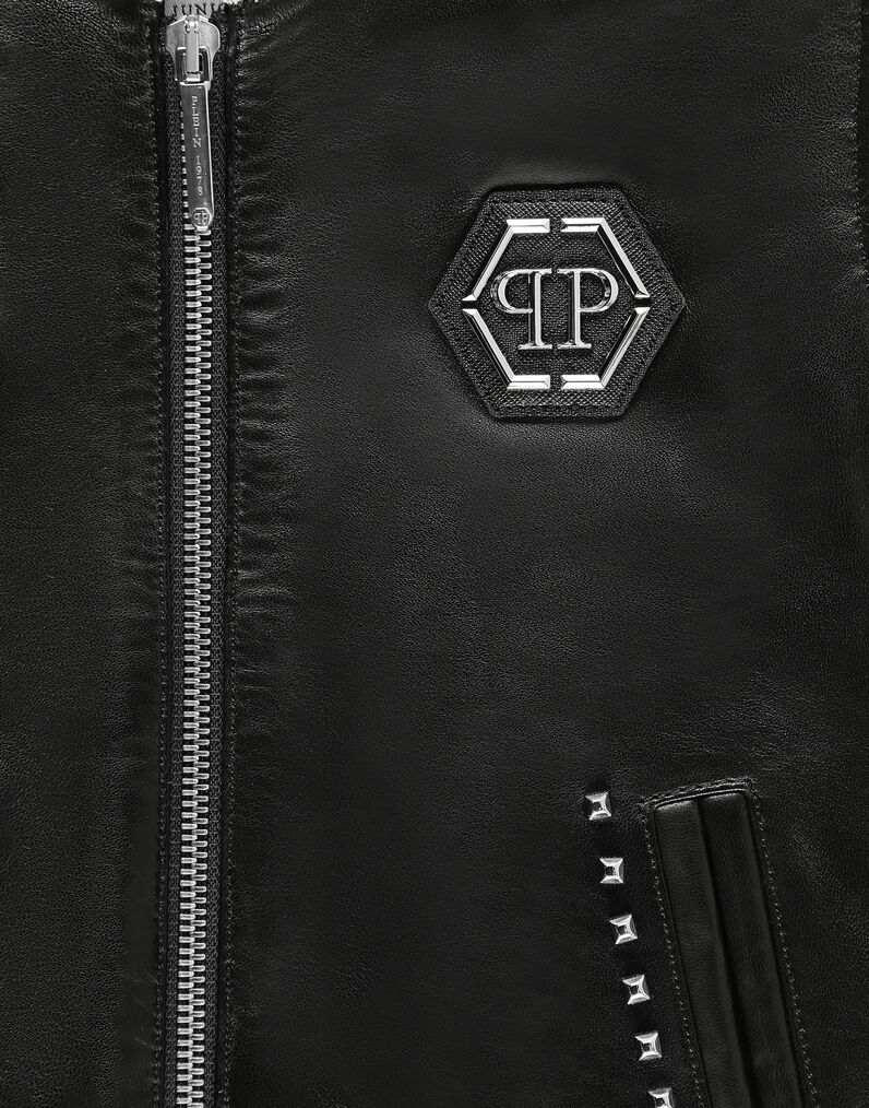 Leather Vest Short Gothic Plein