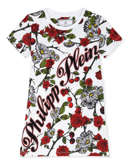 T-Shirt Short Dresses Red Roses