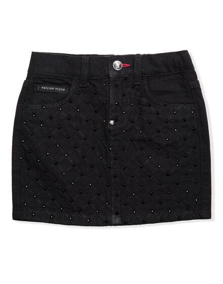 Short Skirt Crystal Denim
