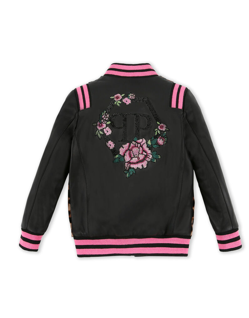 Leather Bomber Flowers