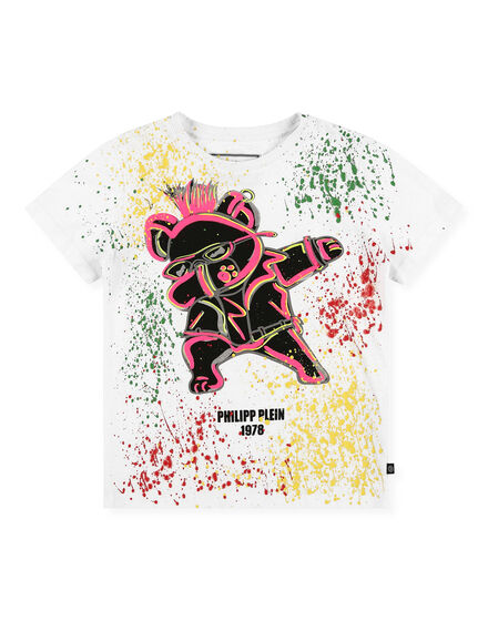 T-shirt Round Neck SS Teddy Bear Painted