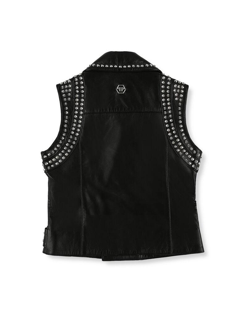 Leather Vest Short Studs
