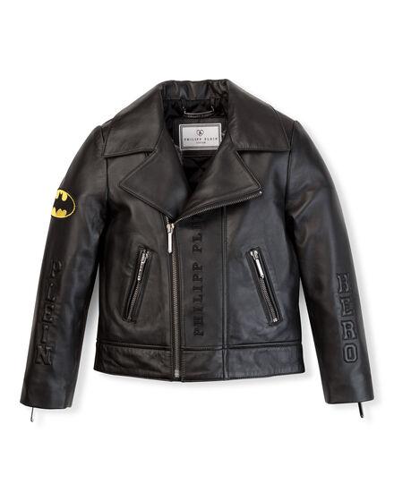 leather jacket plein hero batman
